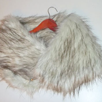 Very Warm! Faux Fur Scarf (Siberian Fox - Silver) Winter Scarf, Cold Weather Stole, Faux Fur Wrap, Faux Fur collar - Valentine's Day Gift