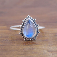 Blue moonstone ring, rainbow moonstone sterling silver ring, rainbow silver ring, silver moonstone ring,moon stone ring Jewelry,rainbow ring