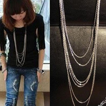 Vintage Style Multi-layer Women's Silver Multi-Chain Necklace (Color: Silver) = 1946263300