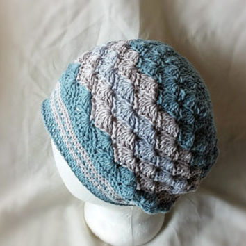 Blue crochet hat Summer cloche Chevron cotton beanie hat shell fan pattern Soft blue, putty grey and light lavender stripes
