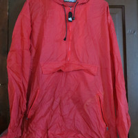 80s M & Ms studios red nylon hooded windbreaker jacket sz large