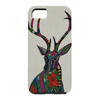 Sharon Turner Poinsettia Deer Cell Phone Case