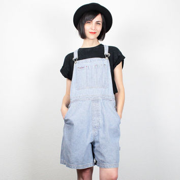 Vintage 90s Overall Shorts Soft Grunge Overalls GAP Overalls Shorts Denim Romper 1990s Jean Striped Dungarees Playsuit Jumper XL Extra Large