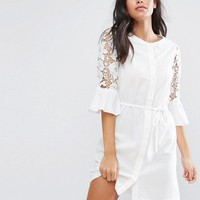 Vila Cotton Dress With Fluted Sleeve And Lace Inserts at asos.com