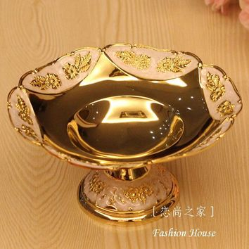 Free shipping luxury fruit bowl, shinning golden fruit tray/plate for home decoration