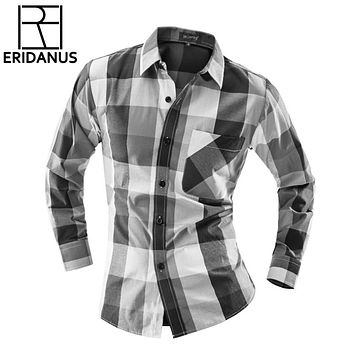 Men's Fashion Plaid Long-sleeved Shirt Social Business Casual Slim Fit Mens Dress Shirts