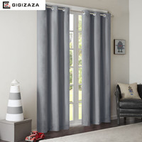 Imitation silk solid fabric full black out window curtains Pink color  process finished size shade blinds for room grey blue