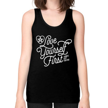 Love your self Unisex Fine Jersey Tank (on woman)