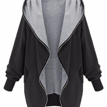Black Batwing Sleeve Hooded Plus Size Coat