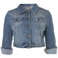 MOTO Sparkle Yoke Crop Jacket - Jackets & Coats  - Apparel