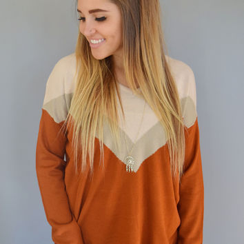 Mountain Town Chevron Sweater Rust