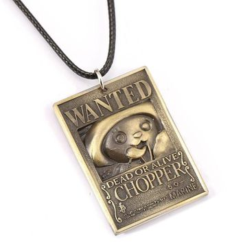 One Piece Wanted Poster Tony Chopper Metal Alloy Necklace