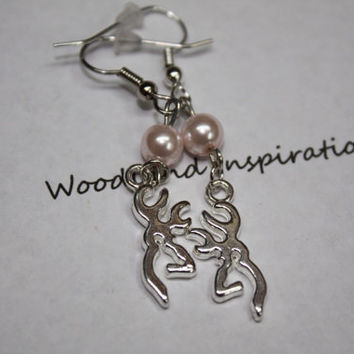 Browning earrings, Browning and pink pearls, browning jewelry, deer hunter, Deer head earrings with pearls. Country girl, bullet jewelry