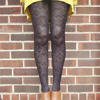 Moroccan Pattern Lace Tights Black