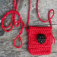 Handmade Red and Black Spirit Pouch called Power - Made with Love