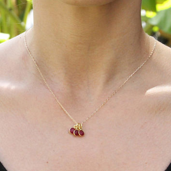 Triple Gemstone Minimal Necklace in Ruby