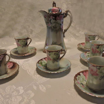 Antique Hand Painted Porcelain Nippon Pink & White Rose Chocolate Set Service for  Six