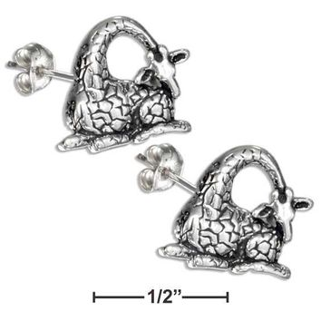 STERLING SILVER SITTING GIRAFFE EARRINGS ON STAINLESS STEEL POSTS AND NUTS