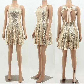 Golden Cut Out Sequin Zipper Bow Tie Back Pleated Backless Party Mini Dress