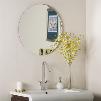 Decor Wonderland SSM213 Modern Frameless Round Beveled Mirror