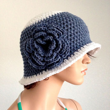 Crochet Cotton Cloche. 1920s High Fashion Inspired Hat. Women's Handmade Cloche Hat