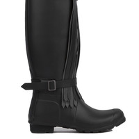 Hunter Original Tall Fringe Matte Rain Boots in Black Dark Slate