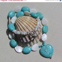"WINTER SALE Turquoise Heart & White Mother of Pearl Necklace - ""Embo"""