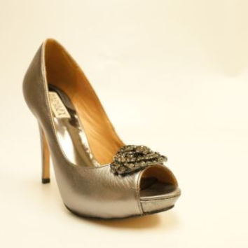 BADGLEY MISCHKA METALIC SILVER JEWELED OPEN TOE PUMPS 6.5 M