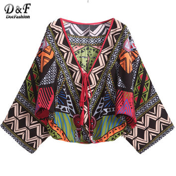 Summer Women Tops Pullover Long Bat Sleeve Green Deep V Neck Tribal Print Crop Cool Vintage Blouse