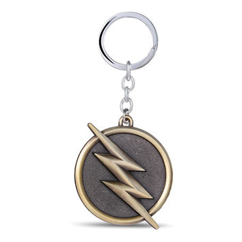 J&R DC Comics The Flash Lighting Logo Gold Color Keychain 6.5x5cm Alloy Key Chain Super Hero Key Ring Best Gift Llavero YS10875