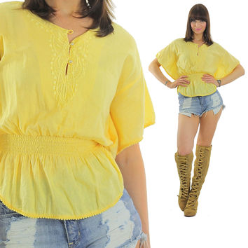 Peasant top flutter sleeve top yellow embroidered 70s prairie gypsy button up Festival Vintage Hipster Batwing Small Medium