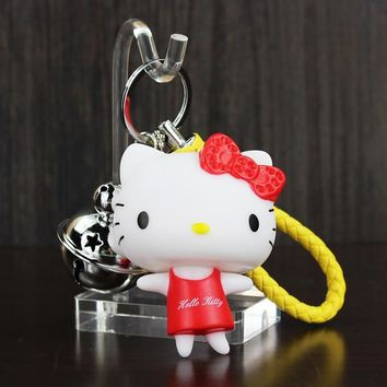 Lovely Hello Kitty Key Chain Tinkle Bell Catoon Handbags Accessories Car Key Chains Keyring Bag Pendants For Kids And Girls Gift