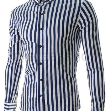 Striped Turn-down Collar French Cuff Men's Casual Shirts