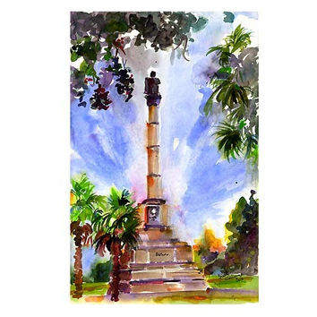 Charleston South Carolina Calhoun Monument Watercolor by Ginette Callaway