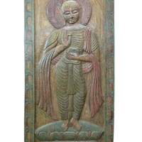 Hand Carved Buddha Wall Panel Standing Buddha in Vitarka Mudra Architectural Wall Sculpture