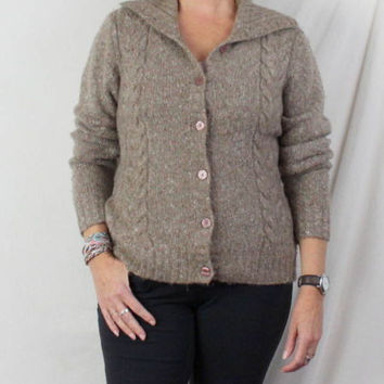 LL Bean Sweater M size Light Brown Flecked Womens Cable Cardigan Lightweight