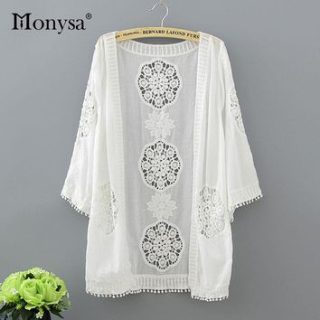 Monysa Summer White Beach Cover Up 2018 New Cardigan Lace Mesh Sexy Bikini Cover Up Women Floral Hollow Tassel Swimsuit Cover Up