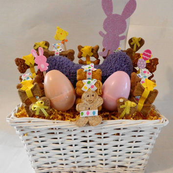 Easter basket, custom dog biscuit treat basket with squeak toy, unique gift, personalized, yellow, purple, easter
