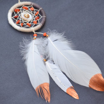 Small Dreamcatcher with Quartzite Stone, Car Mirror Charm, Rear View Mirror, Boho Dreamcatcher.Golden Pearl, Shall Bead.