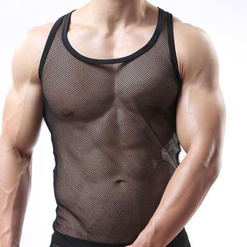Man Underwear/Male Funny Mesh Fishnet Singlets Undershirts/Gay Sexy Breathable Plaid Transparent Sleeveless Vest