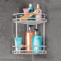 Interdesign® Rustproof Aluminum 2-Tier Corner Suction Basket in Silver