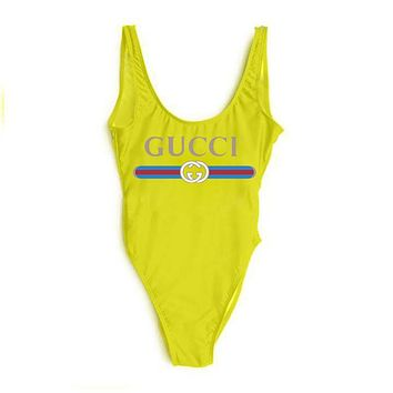 GUCCI Women Fashion One Piece Swimwear Bikini Swimsuit