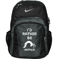 I'd Rather Be Cheering: Custom Nike Premium Performance Backpack Bag - Customized Girl