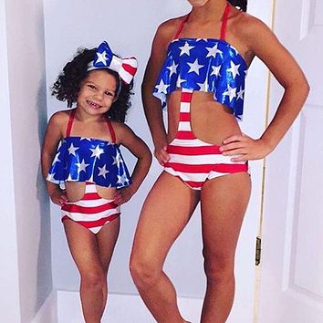 USA American Flag Pattern Kids Swimwear Set