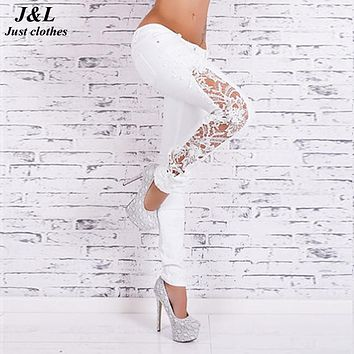 JLZLSHONGLE New Fall Women Slim Skinny Lace Crochet Stretch Denim Jeans Lace Hollow Out White Women Jeans Low Waist Pencil Pants