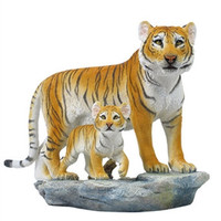 Mother Tigress with Baby Cub Statue - 8357
