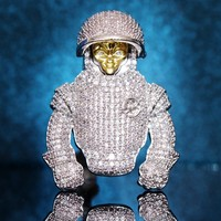 Men's Iced Out Astronaut Alien Man Custom Pendant Chain