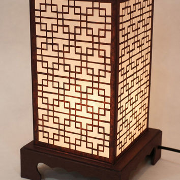 Paper Art Handmade White Square Shade Lantern Touch Switch Brown Asian Painting Decorative Bedside Bedroom Table Lamp Lighting