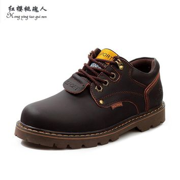 Winter Spring Autumn Men Ankle Boots Genuine Leather shoes men Casual Lace Up Work Men traveling shoes Mens Work Shoes
