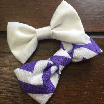 Purple and White Baby Girl Hair Bows